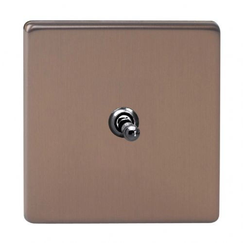 Varilight XDYT1S.BZ Screwless Brushed Bronze 1 Gang 10A 1 or 2 Way Toggle Light Switch